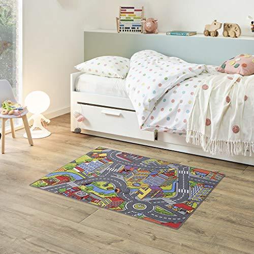 Fabriq Spielteppich Straße, Anti-Rustch Kinderteppich für Jungen und Mädchen, Autoteppich für Kinderzimmer & Spielzimmer, 30°C waschbar, 95x133cm, Smart City