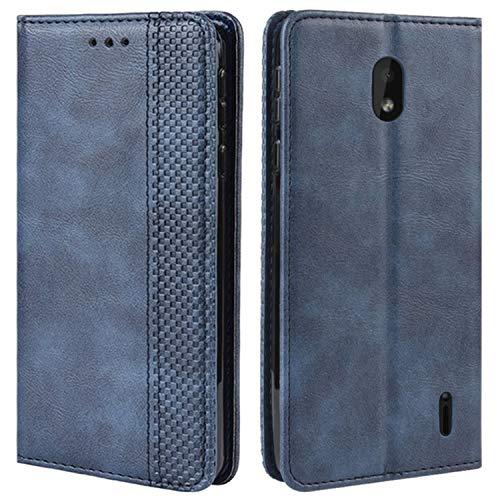 HualuBro Handyhülle für Nokia 1 Plus Hülle, Retro Leder Brieftasche Tasche Schutzhülle Handytasche LederHülle Flip Hülle Cover für Nokia 1 Plus 2019 - Blau
