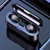 TWS True Wireless Earbuds Bluetooth 5.0 2000mAh Smart LED Display Charging Case | Premium Sounds with Deep Bass | Upgraded F9 Chip | Headphones Noise Cancelling IPX7 Waterproof