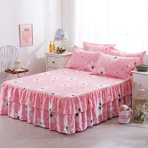 VEADK Bettdecke Romantischer zweischichtiger Bettrock Elegante Tagesdecke aus Chiffon Satin Baumwollbettlaken für Hochzeitsdekoration Bettdecke mit Gummiband, Pink, 180 * 220 cm