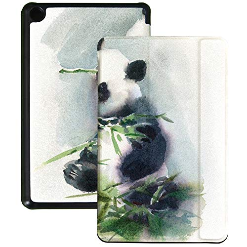 QIYI Slimshell Case Fits All-New Amazon Fire 7 Tablet (9th Generation, 2019 Release) Kids Protective Cover Adjustable Stand Smart Shell for Kindle 7 Inch Tablet - Watercolor Panda