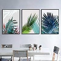 HD印刷緑の熱帯の葉壁アートキャンバス絵画植物北欧と印刷壁の写真リビングルームの家の装飾3個40x60cmフレームなし