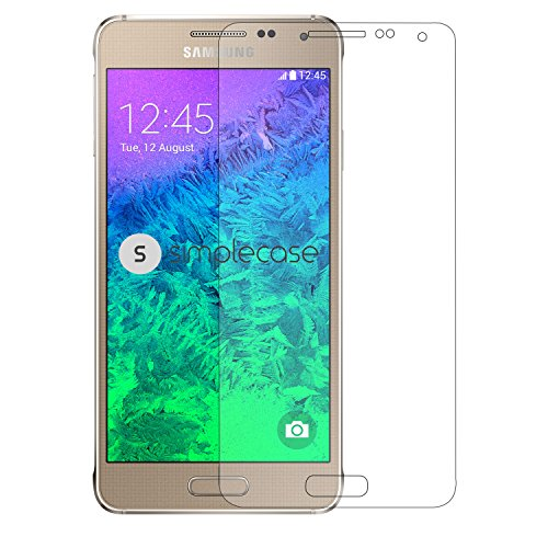 Simplecase Panzerglas passend zu Samsung Galaxy Alpha , Premium Bildschirmschutz , Schutz durch Extra Festigkeitgrad 9H , Hülle Friendly , Echtglas / Verb&glas / Panzerglasfolie , Transparent - 1 Stück