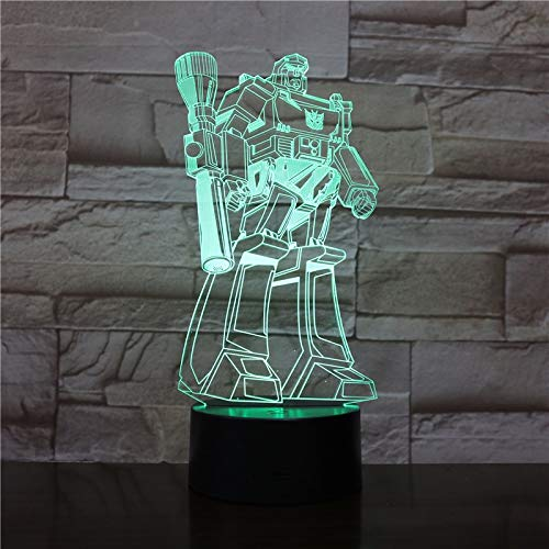 3D Hollywood Movie Cartoon Transformers Autobots Table Lamp Club Home Office Decor Christmas Kids Gift Fans Table Desk Night Light