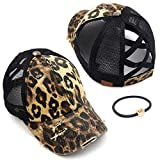 C.C Exclusives Washed Distressed Cotton Denim Criss-Cross Ponytail Hat Adjustable Baseball Cap Bundle Hair Tie (BT-780) (A Elastic Band-Leopard)