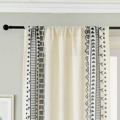 SEEKRIGHT Natural Linen Vertical Boho Curtains 95 Inch Length - Country Rustic Bohemian Curtains for Living Room - Rod Pocket Classic Old World Print Flax Drapes for Bedroom, 1 Panel