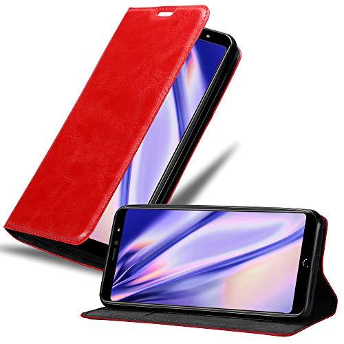 Cadorabo Hülle für BQ Aquaris X2 in Apfel ROT - Handyhülle mit Magnetverschluss, Standfunktion & Kartenfach - Hülle Cover Schutzhülle Etui Tasche Book Klapp Style