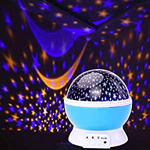 Night Light Moon Star Projector 360 Degree Rotation – 4 LED Bulbs 9 Light Color Changing with USB Cable,Holiday Lights for Bedroom Ceiling for Adults Unique Gifts for Men Women Kids Baby Best Gift