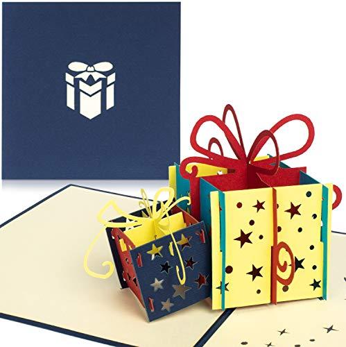 PaperCrush® Pop-Up Geburtstagskarte für Geldgeschenk (Blau) - 3D Popup Karte zum Geburtstag, Geldgeschenkkarte - Handgemachte Glückwunschkarte inkl. Umschlag