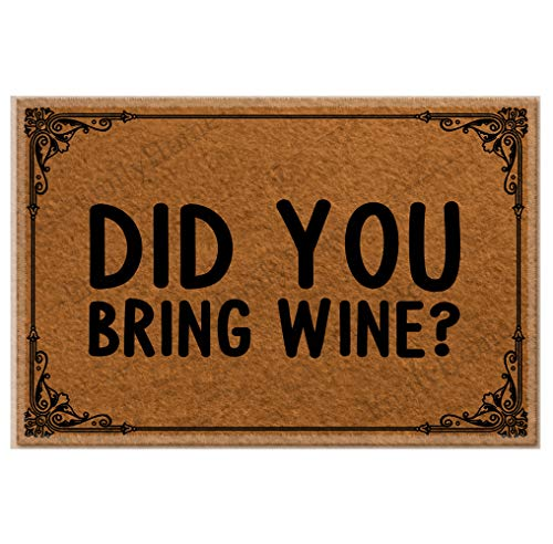 Did You Bring Wine Christmas Doormat,Family Friend Yard Low-Profile Floor Mat Switch Mat for Indoor 23.6 x 15.7 inches-Emilyhome