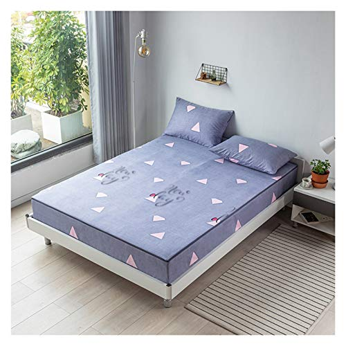 QIANGU Funda de cama ajustable cepillada, transpirable, de seis lados, todo incluido, fácil de quitar, lavable a máquina (color: A, tamaño: 200 x 220 + 10 cm)
