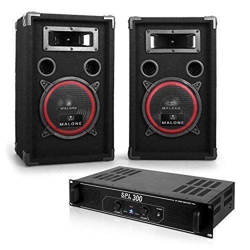 Malone sistema PA para DJ 2 altavoces amplificador (300 W, bassreflex, subwoofer 20cm, entradas HIFI RCA, luz LED)