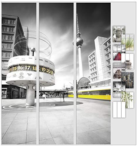 EFIXS 3er Set Flächenvorhang - Motiv Berlin - halbtransparent und lichtdurchlässig - Paneelbreite: 60 cm x H: 245 cm - Gesamt 180 x 245 cm - incl. Flauschband, Paneelwagen und Beschwerungsprofil