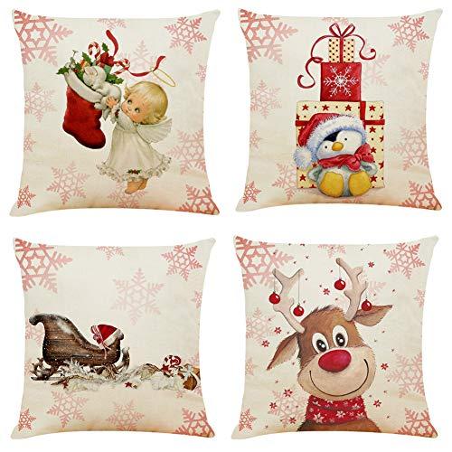 Boyouth - Federa decorativa quadrata per cuscino, motivo: angelo di Natale, pinguino, slitta e alce, in cotone e lino, 4 pezzi, 45,7 x 45,7 cm