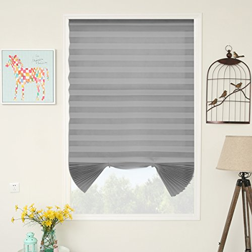 SUNFREE Grey Temporary Blinds Cordless Shades Fabric Light Filtering Pleated Blinds Window Shade Grey 48'x72', 3-Pack