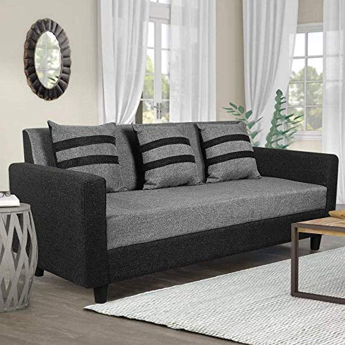 CasaStyle - Alice 3 Seater Sofa Set for Living Room (Light Grey-Black) Solid Wooden Base with High Comfort Sofa for Home