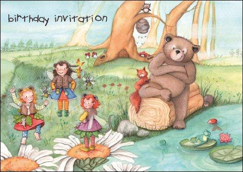 Unbekannt Im 5er Set: Süße Kinder Geburtsags Einladungskarte vmit Teddy Bär: Birthday Invitation