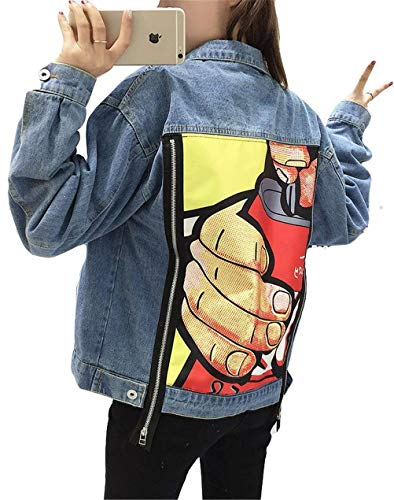 Jeansjacke Damen Frühling Herbst Mode Vintage Coat Jacke Classic Trendy Loose Outerwear Mit Zipper Coole Sachen Jacken Bedruckte Gemustert Mantel Jacket Kleidung (Color : Blau, Size : M)