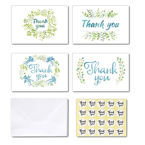 Watercolor Thank You Cards of Ohuhu, 24 Thank You Notes, 4 Green Garland Designs Thank U Card with Envelopes and Stickers for Mother's Day, Wedding, Baby Shower, Blank inside, 4x6 inch