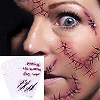Chengzhi Tatuajes Temporales (10 Hojas) - Halloween Zombie Cicatrices Tatuajes Pegatinas con Falso Scab Sangre Especial...