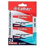 Kathay 86000900. Blister con 2 Cajas de 1000 Unidades de Grapas Galvanizadas 24 6, Anti Oxido