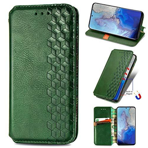 LODROC Galaxy S20 Hülle, TPU Lederhülle Magnetische Schutzhülle [Kartenfach] [Standfunktion], Stoßfeste Tasche Kompatibel für Samsung Galaxy S20 - LOSD0200278 Grün