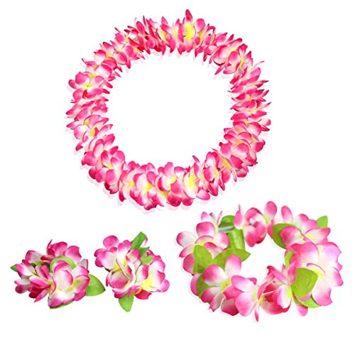 CISMARK Hawaiian Flower Leis Jumbo Necklace Bracelets Headband Set Pink