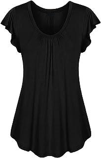 Bluelucon camisetas mujer Mujer Tops Blusa De Manga Corta O-