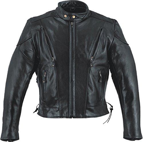 Event Biker Leather Men's Side Lace Vented Scooter Jacket (Black, Large)