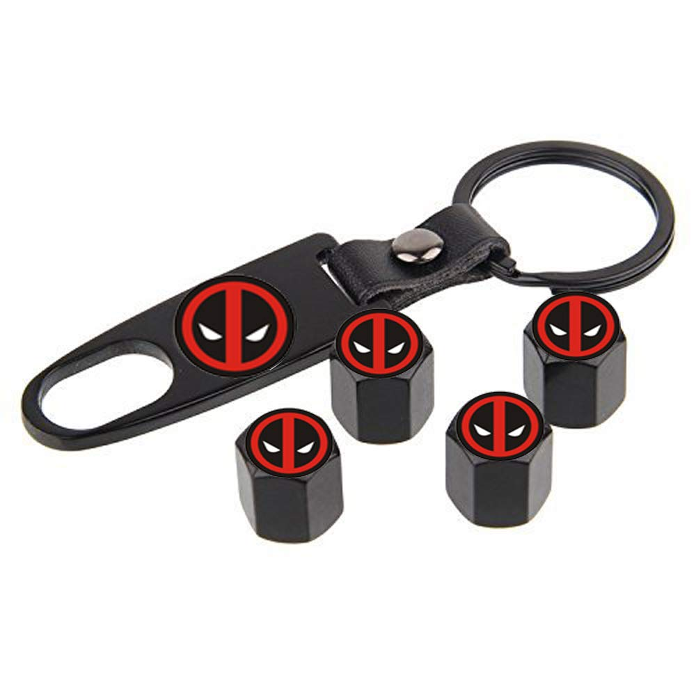 choolo Tire Air Valve Caps Stem Cover Universal Fits All Cars Trucks SUV Bike & Bicycle Motorcycle & Car Tire Valve Stem Caps(for Deadpool)