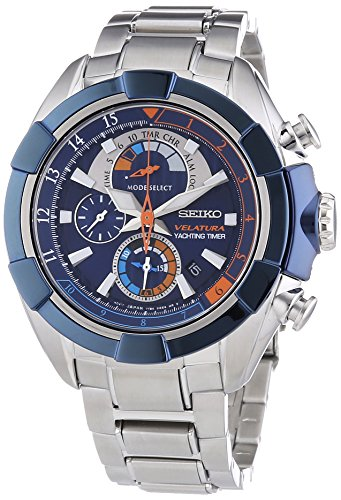 Seiko Herren-Armbanduhr XL Velatura Yachting Timer Chronograph Quarz Edelstahl SPC143P1