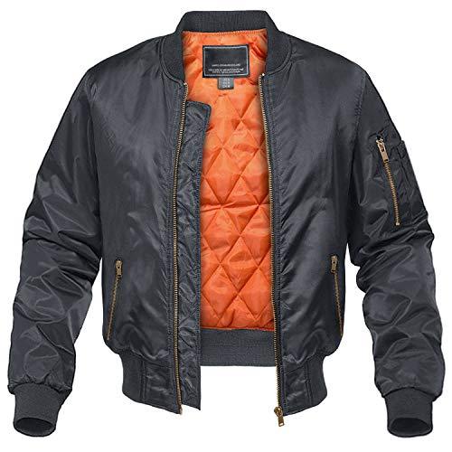 CRYSULLY Men's Coat Winter Thick Army Military Bomber Pilot Jackets Dark Grey