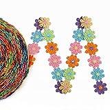 IDONGCAI Colorido Margarita Flor Encaje Bordado Boda Bricolaje Bordado Labor de retazos Cinta de Coser Suministros Artesanía 6,4 m