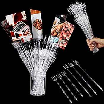 Plastic Floral Picks 9.4 and 12.2 Inch Straight Head Floral Picks Transparent Fork Shape Flower Picks Card Holders for Cards Photos Floral Arrangement Home Decor Weddings Parties  50 Pieces