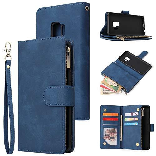 Happy-L Zaak para Samsung Galaxy S9, Cartera magnética Desmontable de Cuero multifunción de Cuero Vintage con Ranura para Tarjeta y Billetera con Cremallera (Color : Blue)