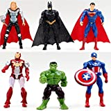 6pcs Superhero Avengers Iron Man Hulk Captain America Superman Batman Action Figures Gift Children's Toys
