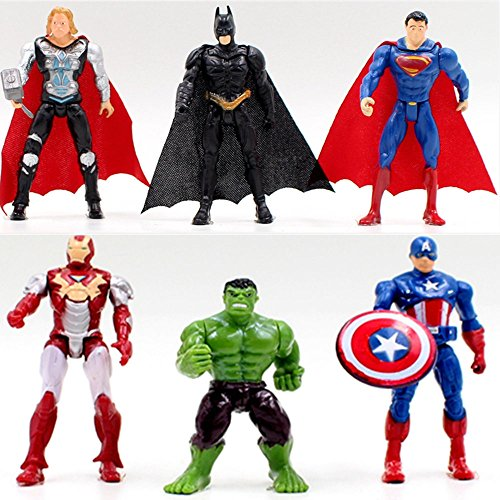 6pcs Superhero Avengers Iron Man Hulk Captain America Superman Batman Action Figures Gift Children's Toys