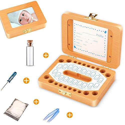 Sparta's Store Milchzähne Box,Zahnbox Zahndose Milchzahndose,Zahndöschen für Kinder,milchzahn box,100% handgefertigt mit Holz [Englisch Version]