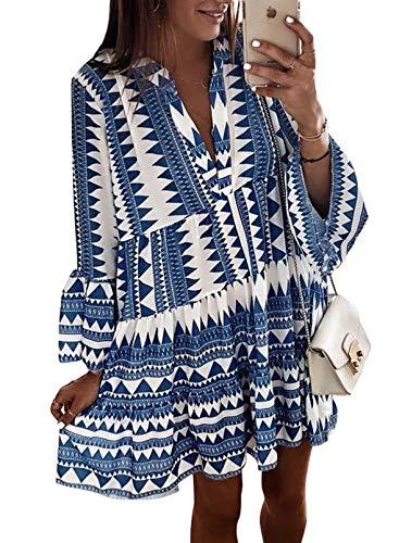 CORAFRITZ Lässiges Tunika-Kleid für Damen, Leopardenmuster, Rüschen, V-Ausschnitt, fließend, schwingend, lose Tunika-Kleider, Vintage-Stil, rosa Druck, langärmelig, Midi-Kleid.F - Blau,M