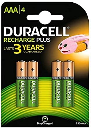 Duracell DC2400 Recharge Plus Rechargeable Batteries, Min Stilo AAA , 750 mAh, Pack of 4