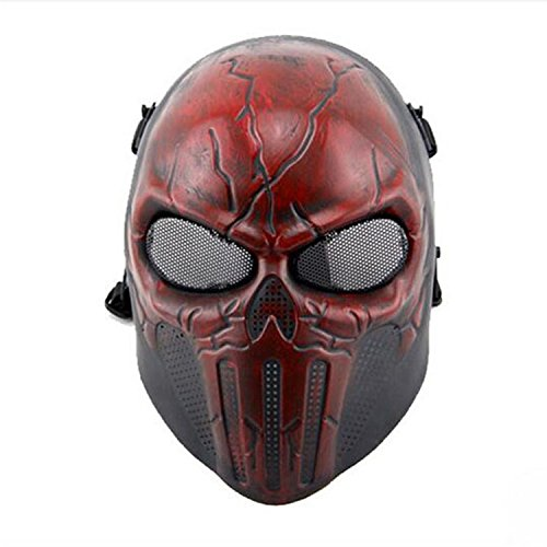 haoyk Tactical Airsoft Full Face Skull Skelett Maske Paintball Spiel CS Krieg Spiel Maske, rot