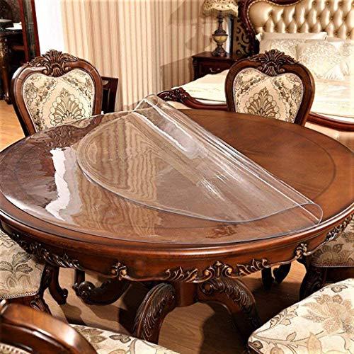 HALOUK Transparente Redondo Mantel,Vinilo Plástico Tablecloth Mantel Protector Impermeable PVC Manteles Protector De Mesa para Interior Exterior-2.0mm-80cm(31 Inch)