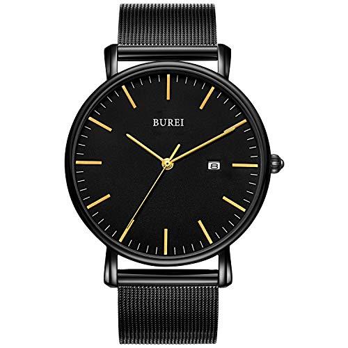 BUREI Stilvolle Minimalistische Ultra Slim Herren Uhr Golden Datum Großes Gesicht Armbanduhr mit Schwarz Edelstahlband