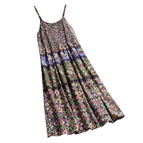 AIFGR Falda de señora Damas Vestido Bohemio con Estampado Floral sin Mangas con u Cuello o Correas Vestido Largo Fiesta de cóctel Vestido de Noche(Rosa,XXXXL)
