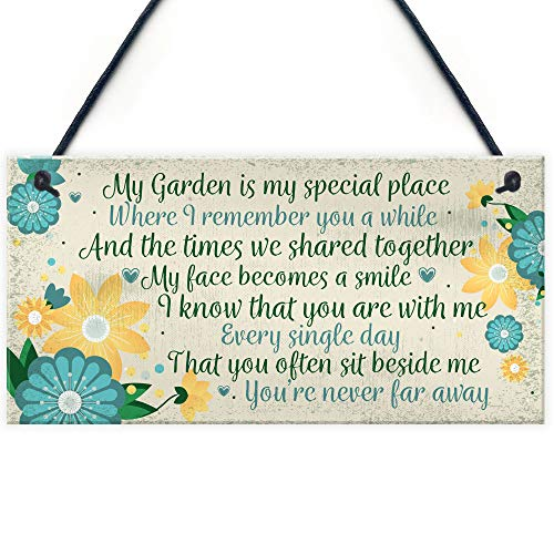 RED OCEAN Garden In Memory Of Mum Nan Friend Memorial Gifts Poem Sign Hanging Wall Shed Memorial Plaque Keepsake