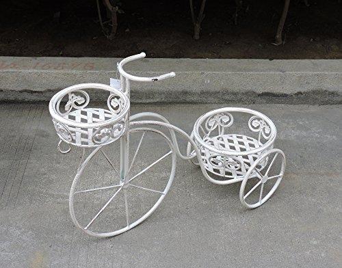 Euronovità EN-222197 Bicicletta Porta Piante con due Porta Vasi in Ferro Battuto,colore Panna. H47.5 X 63 X 26 Cm