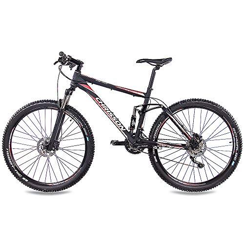 CHRISSON 29 Zoll Mountainbike Fully - Hitter FSF schwarz rot - Vollfederung Mountain Bike mit 30 Gang Shimano Deore Kettenschaltung - MTB Fahrrad für Herren und Damen mit Rock Shox Federgabel - 3