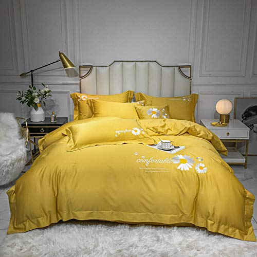 KIKIGO Bedroom Bedding Duvet Cover Set,Bed linen cotton set duvet cover and sheet with 2 pillowcases-turmeric_200*230