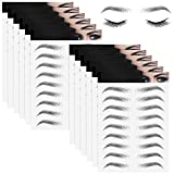 12 Sheets 4D Hair-Like Waterproof Eyebrow Tattoos Stickers Eyebrow Transfers Stickers Grooming Shaping Eyebrow Sticker for Women and Girls (Simple Style)