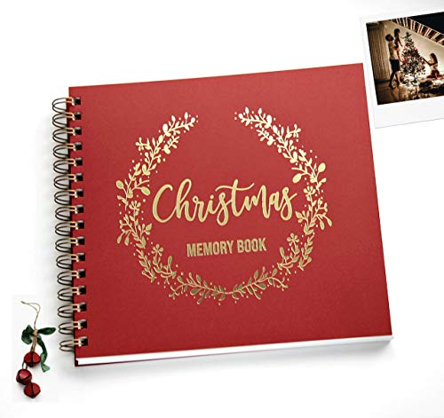 Christmas Memory Book, Scrapbook Album Christmas Keepsake Album, Gold...